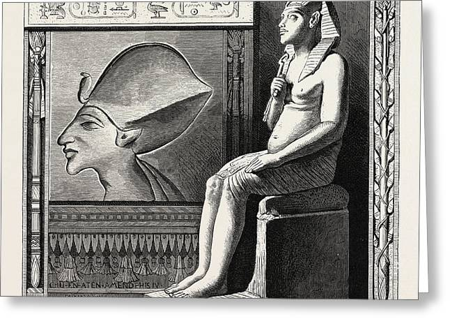 Portrait Statue And Relief Of The Fanatical King Amenophis Greeting Card