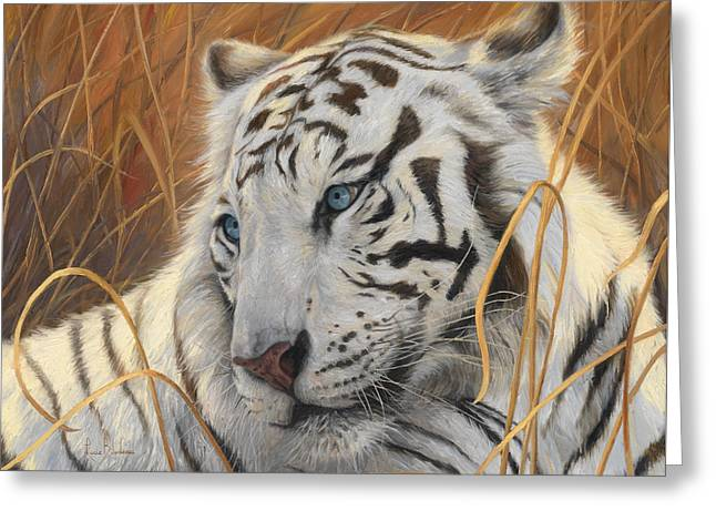 Portrait White Tiger 1 Greeting Card