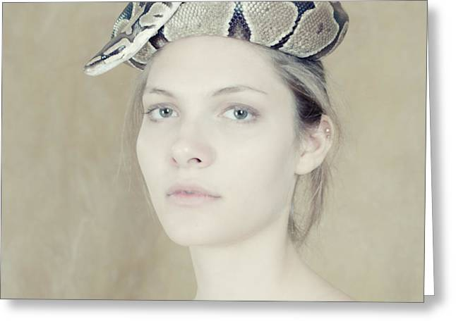 Portrait With The Snake Greeting Card by Zina Zinchik