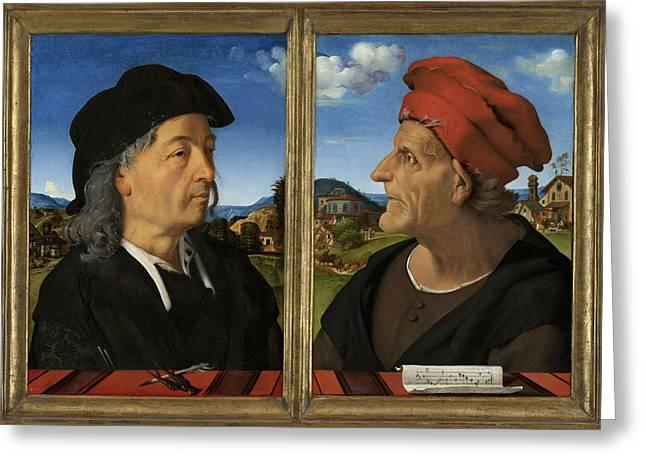 Portraits Of Giuliano And Francesco Giamberti Da Sangallo Greeting Card by Quint Lox