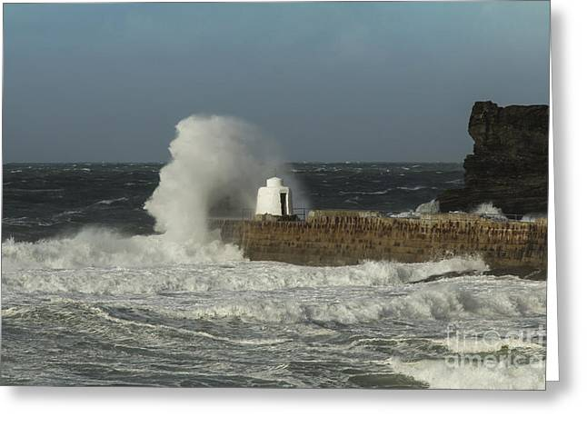 Portreath Harbour Breakwater Close Up Greeting Card