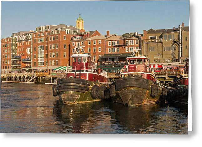 Portsmouth Harbor With Tugboats Greeting Card