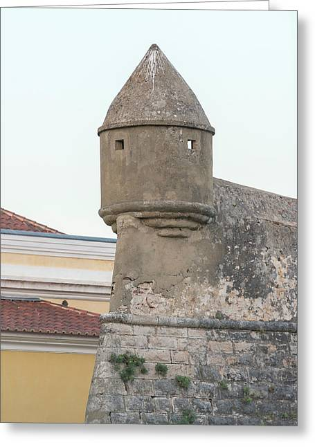 Portugal, Cascais, Fortress Turret Greeting Card by Jim Engelbrecht