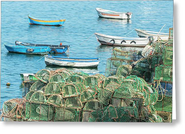 Portugal, Cascais, Lobster Traps Greeting Card by Jim Engelbrecht