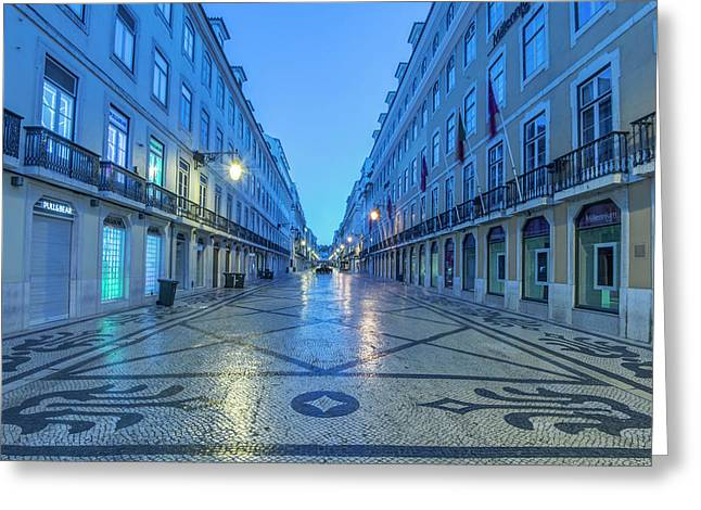 Portugal, Lisbon, Baixa, Rua Augusta Greeting Card by Rob Tilley
