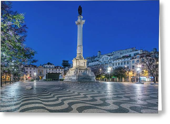 Portugal, Lisbon, Rossio Square At Dawn Greeting Card by Rob Tilley