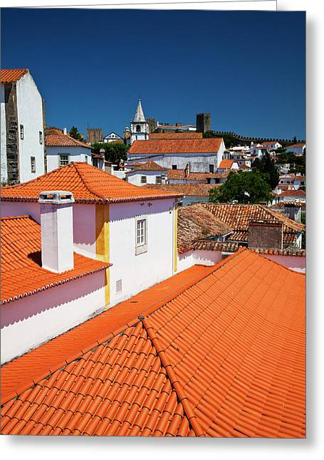 Portugal, Obidos, Elevated View Greeting Card