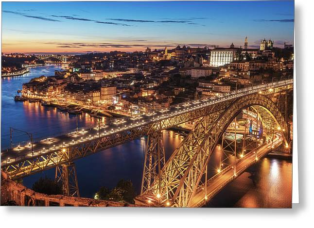 Portugal - Porto Blue Hour Greeting Card by Jean Claude Castor