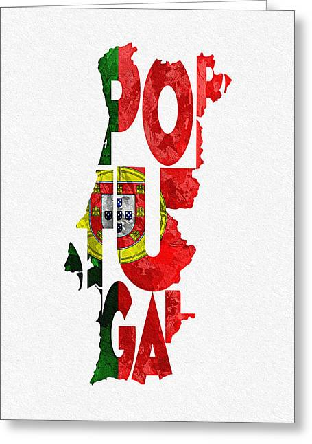 Portugal Typographic Map Flag Greeting Card by Ayse Deniz
