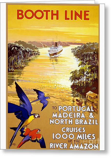 Portugal Vintage Travel Poster Greeting Card by Jon Neidert