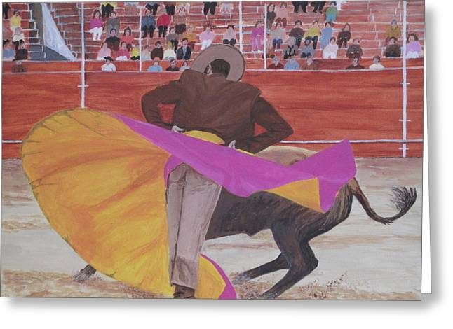 Greeting Card featuring the painting Portuguese Bullfighter by Hilda and Jose Garrancho