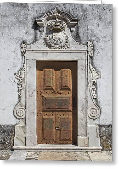 Portuguese Door Of 1825 Greeting Card by David Letts