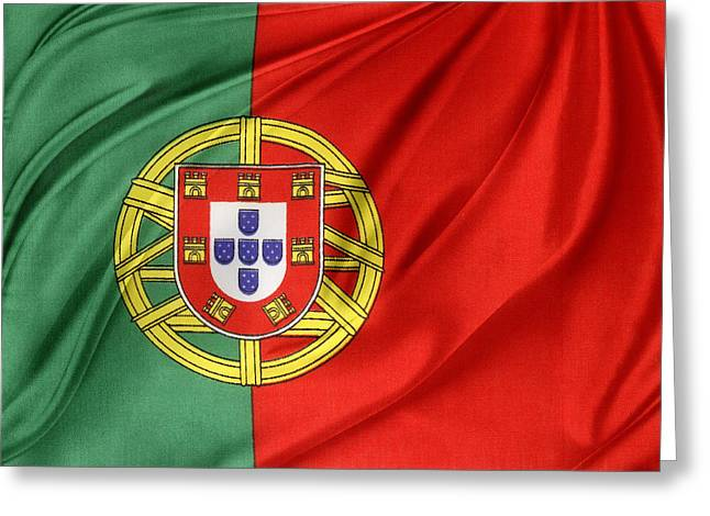 Portuguese Flag Greeting Card by Les Cunliffe