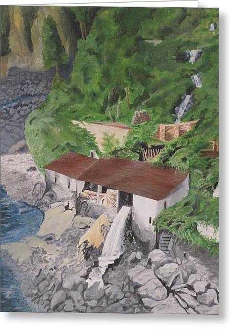 Greeting Card featuring the painting Portuguese Sawmill by Hilda and Jose Garrancho
