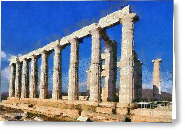 Poseidon Temple Greeting Card by George Atsametakis