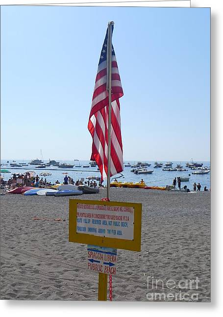 Positano - American Flag  Greeting Card