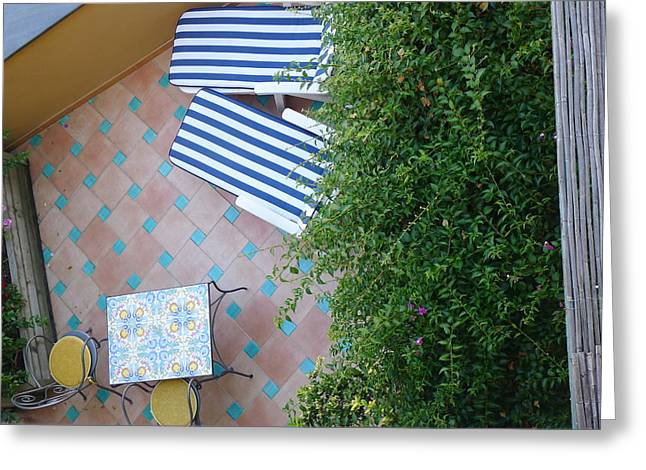 Positano - Balcony View - Lounge Chairs Greeting Card