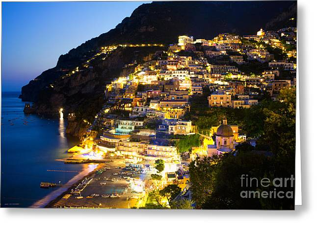 Positano Glow Greeting Card by Leslie Leda