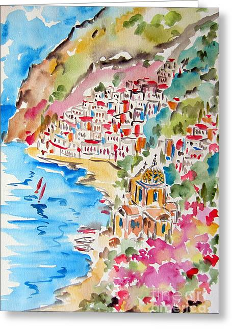 Positano Water Color Greeting Card