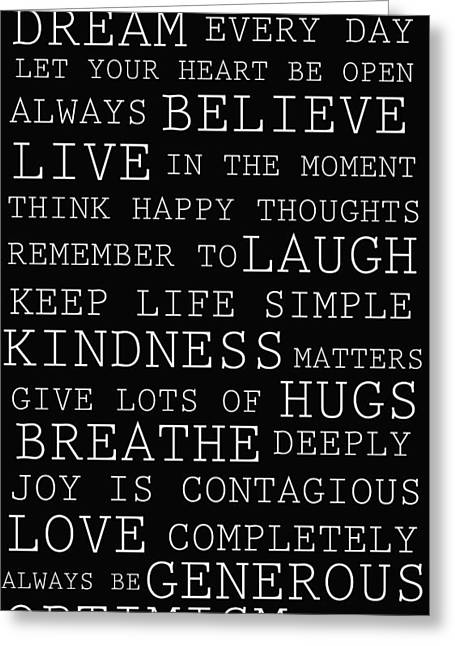 Positive Words Greeting Card by P S
