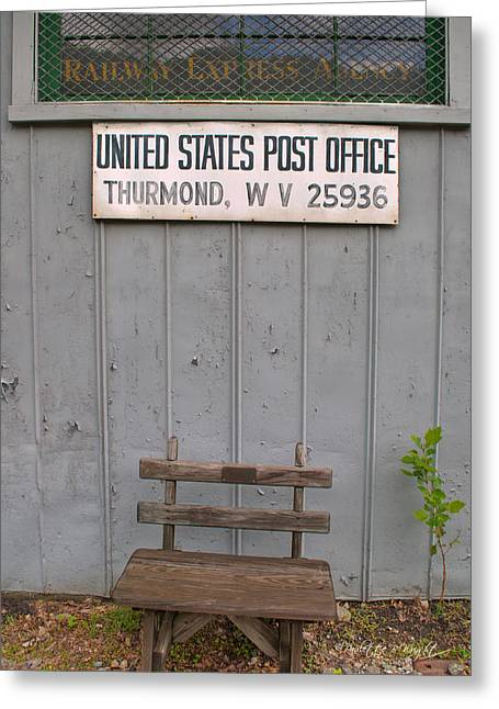 Post Office Bench Greeting Card by Paulette B Wright