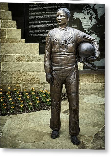 Post-vietnam Memorial Statue Greeting Card by Joan Carroll