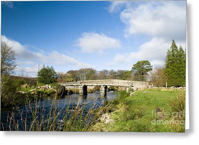 Postbridge Clapper Bridge Greeting Card by Anne Gilbert