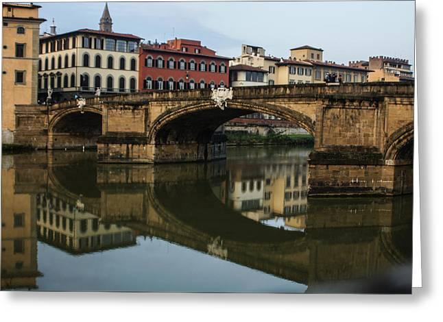 Postcard From Florence - Arno River And Ponte Santa Trinita  Greeting Card