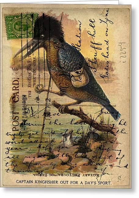 Postcard Kingfisher Greeting Card by Sarah Vernon