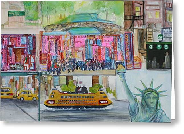 Postcards From New York City Greeting Card by Jack Diamond