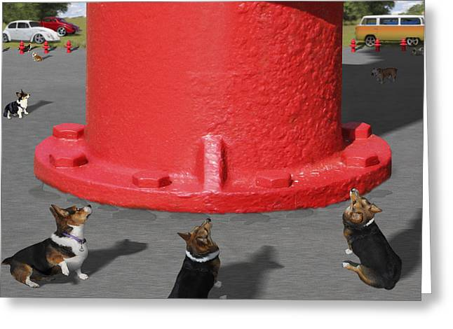 Postcards From Otis - The Hydrant Greeting Card by Mike McGlothlen