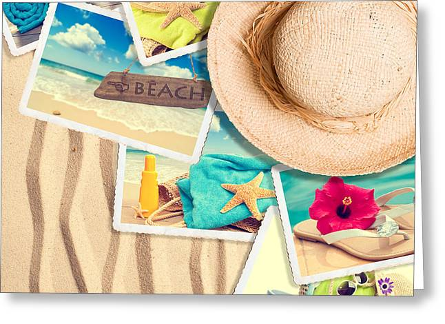 Postcards In The Sand Greeting Card by Amanda Elwell