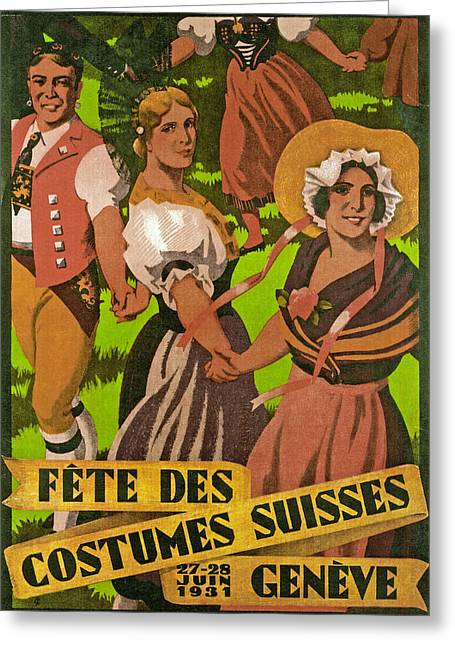 Poster Advertising F?te Des Costumes Greeting Card by Jules Courvoisier