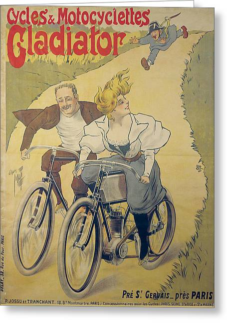 Poster Advertising Gladiator Bicycles And Motorcycles Greeting Card