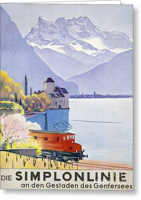 Poster Advertising Rail Travel Around Lake Geneva Greeting Card by Emil Cardinaux