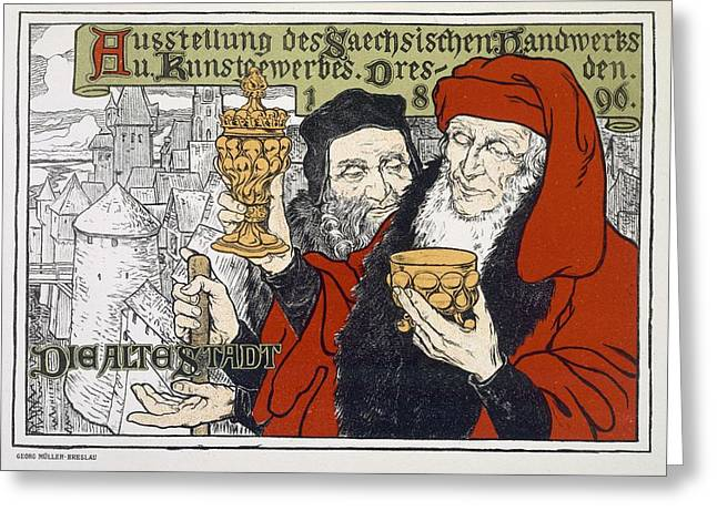 Poster Advertising The Arts And Crafts Greeting Card by Georg Muller-Breslau
