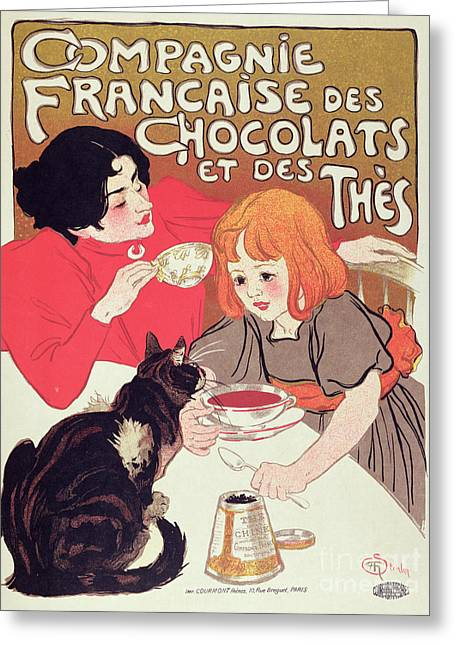 Poster Advertising The Compagnie Francaise Des Chocolats Et Des Thes Greeting Card by Theophile Alexandre Steinlen