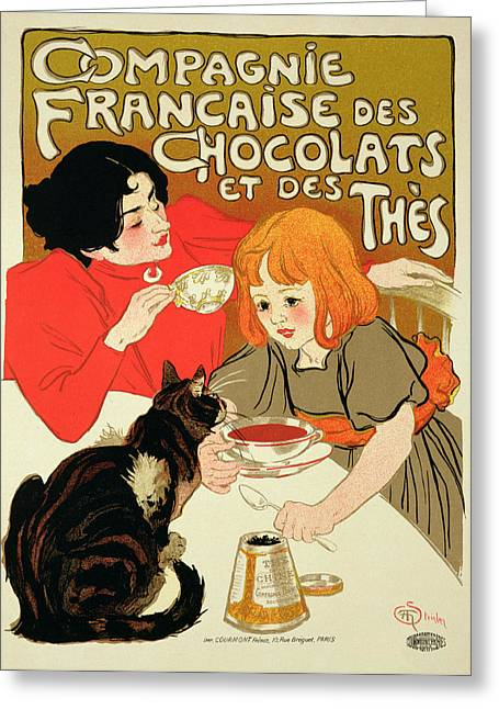 Poster Advertising The French Company Greeting Card by Theophile Alexandre Steinlen