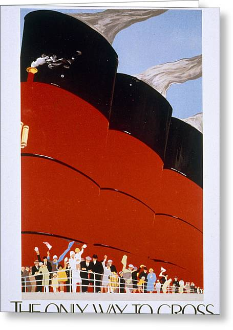 Poster Advertising The Rms Queen Mary Greeting Card by English School