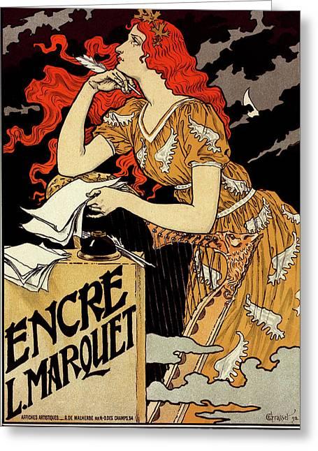 Poster For  L Encre Marquet. Eugène Grasset 1845 – 1917 Greeting Card