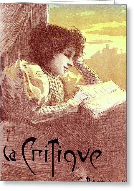 Poster For Le Journal La Critique. Ferdinand Mifliez Greeting Card