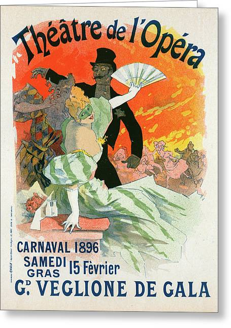 Poster For Le Théâtre De Lopéra Greeting Card by Liszt Collection