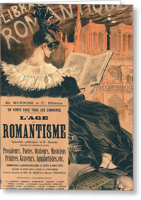 Poster For Librairie Romantique. Promoting The Book Lage Du Greeting Card
