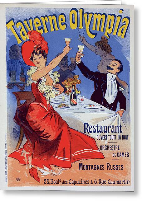 Poster For Taverne Olympia. Chéret, Jules 1836-1932 Greeting Card by Liszt Collection