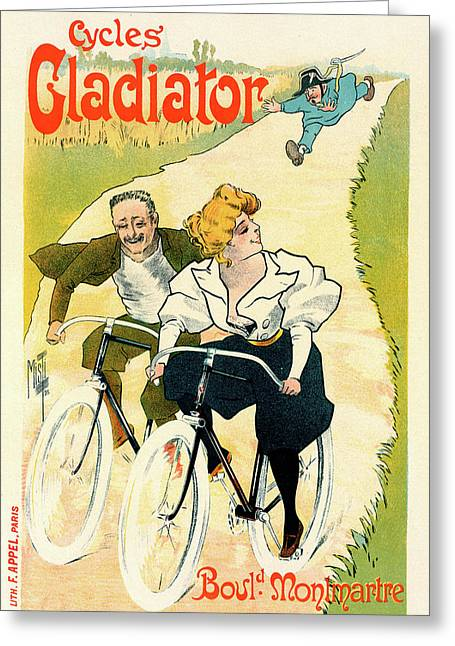Poster For The Cycles Gladiator. Ferdinand Mifliez Said Greeting Card by Liszt Collection