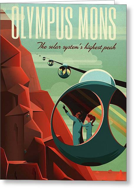 Poster For Tours Of Olympus Mons Greeting Card by Nasa/science Photo Library