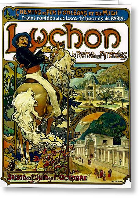 Poster For Trains To Luchon Greeting Card by Alphonse Marie Mucha