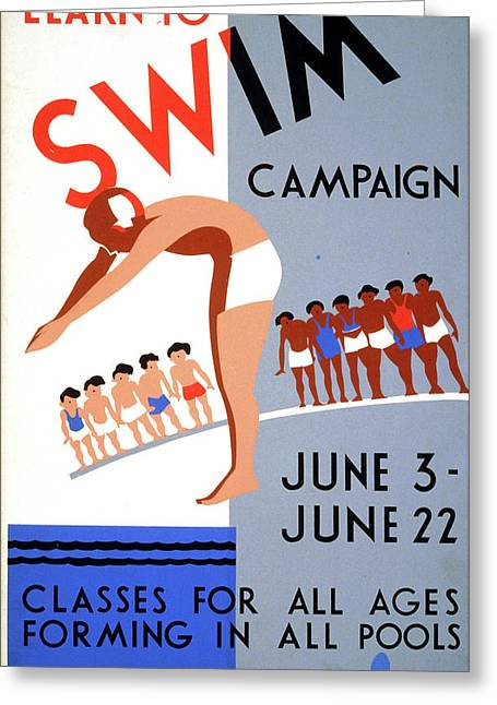 Poster Swimming, C1938 Greeting Card