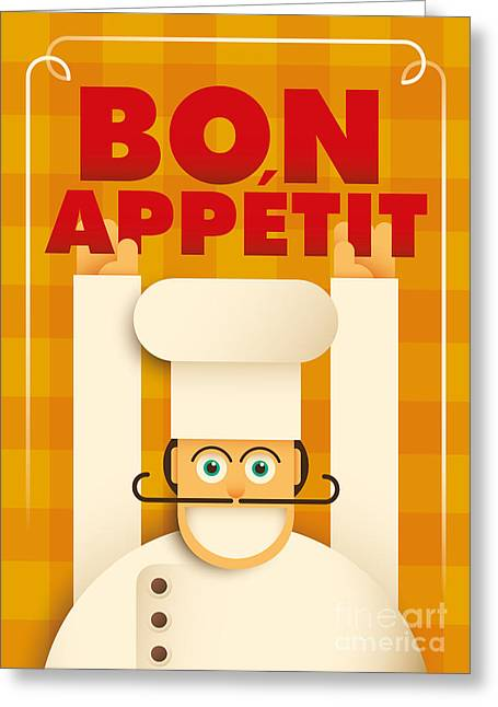 Poster With A Comic Chef. Vector Greeting Card