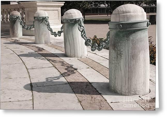Posts And Chains At Niagara Square Greeting Card